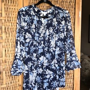 Charter Club Floral Print Pintucked Top